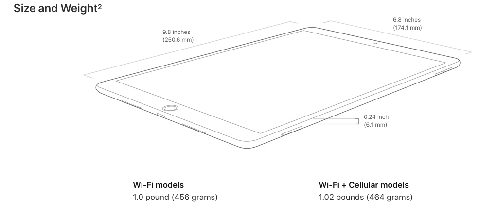 iPad Air Dimensions